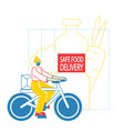 courier characters delivering food products vector image