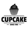 cupcake logo simple black style vector image vector image