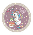 cute birthday unicorn with cake circle pink vector image vector image