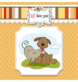 dog cats friendship vector image