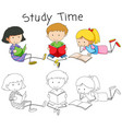 doodle boy and girl reading book vector image
