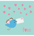 Flying bird with letter and hearts love card vector image vector image