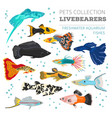 freshwater fishes breeds icon set flat style vector image vector image
