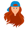 girl with blue hat on white background vector image vector image