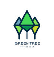 green tree logo template original design abstract vector image vector image