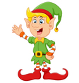 Happy green elf waving vector image