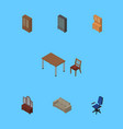 isometric design set of sideboard office vector image