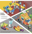 isometric fast food template vector image vector image