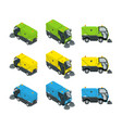 isometric road sweeper dust cleaner road sweeper vector image vector image