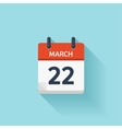 March 22 flat daily calendar icon Date vector image vector image