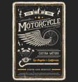 motorcycle poster vintage biker garage chopper vector image