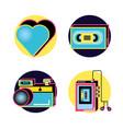 nineties retro set icons vector image vector image
