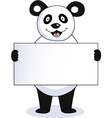 panda with blank sign vector image vector image