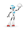 robot waiter with cloche isolated on white back vector image vector image