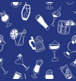 seamless blue pattern with doodles of alcohol vector image vector image