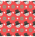 seamless pattern background with cute snowman face vector image