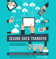 secure data transfer data technology poster vector image