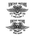 set emblems with vintage winged motors design vector image vector image