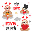set isolated love sloth with hearts vector image vector image
