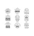 set of hand drawn monochrome circus show promotion vector image vector image
