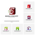 set of science book logo concept people learning vector image vector image