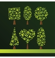 set trees various shapes oval cube sphere vector image