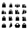 shopping bag icon set vector image vector image