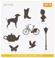 Silhouettes birds and objects set vector image