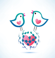social network concept two birds on the globe vector image vector image