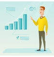 Successful businessman pointing at chart going up vector image vector image