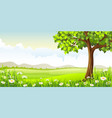 summer panorama landscape with tree and flowers vector image vector image