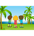 Three kids watching the river vector image vector image
