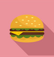 unhealthy burger icon flat style vector image vector image