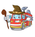 witch fire truck mascot cartoon vector image vector image
