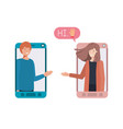 young couple in smartphone with speech bubble vector image vector image