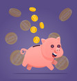 piggy bank with gold coins vector image