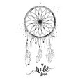 dreamcatcher with bird feather beads and lace vector image