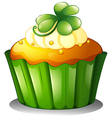 A cupcake for St Patricks Day vector image vector image