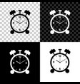 alarm clock icon isolated on black white and vector image