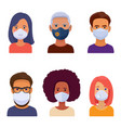 avatars different people in medical face mask vector image