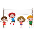 banner template with four happy kids vector image vector image