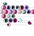 Birthday card with color candy and text vector image