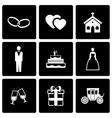 black wedding icon set vector image vector image