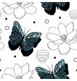 butterflies and magnolia flowers-butterfly garden vector image
