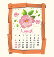 calendar template with pink flowers for august vector image vector image