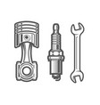 car service station sign spark plug piston and vector image