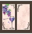 Card menu of sketch grapes wine bottle vector image vector image