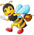 cartoon bee holding pot of honey vector image vector image
