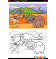 cartoon prehistoric characters coloring book vector image