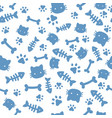 cat boy pattern blue paw animal footprints and vector image